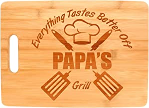 Carving Bamboo Cutting Board for Papa Grill Gifts for Chefs Papa Birthday Gifts (8.7x11.5 inches)