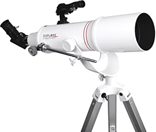 Explore Scientific FirstLight 90mm Refractor Telescope with AZ Mount (White) - Telescope for Adults Stargazing - Portable Doublet Refractor Telescope - Beginner Astronomy Telescope