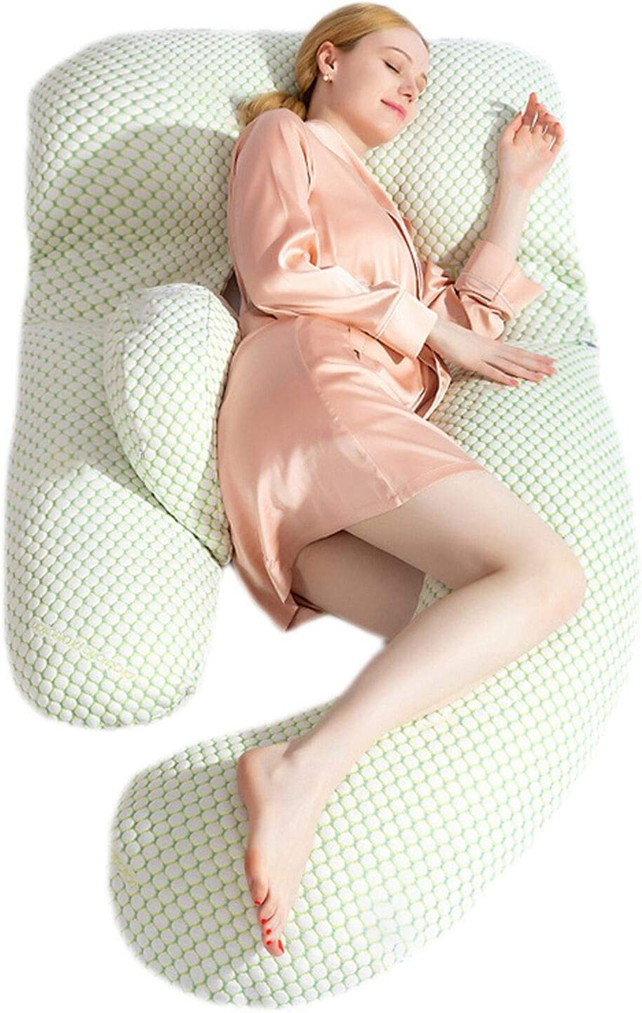 Pregnancy Pillow, Upgrade Body Pillow Support Head Back Shoulder Tummy Hip Leg Belly Full Body, G Shaped Women Maternity Pillow for Adults and Nursing, Detachable WashableTotal Body for Sleeping.