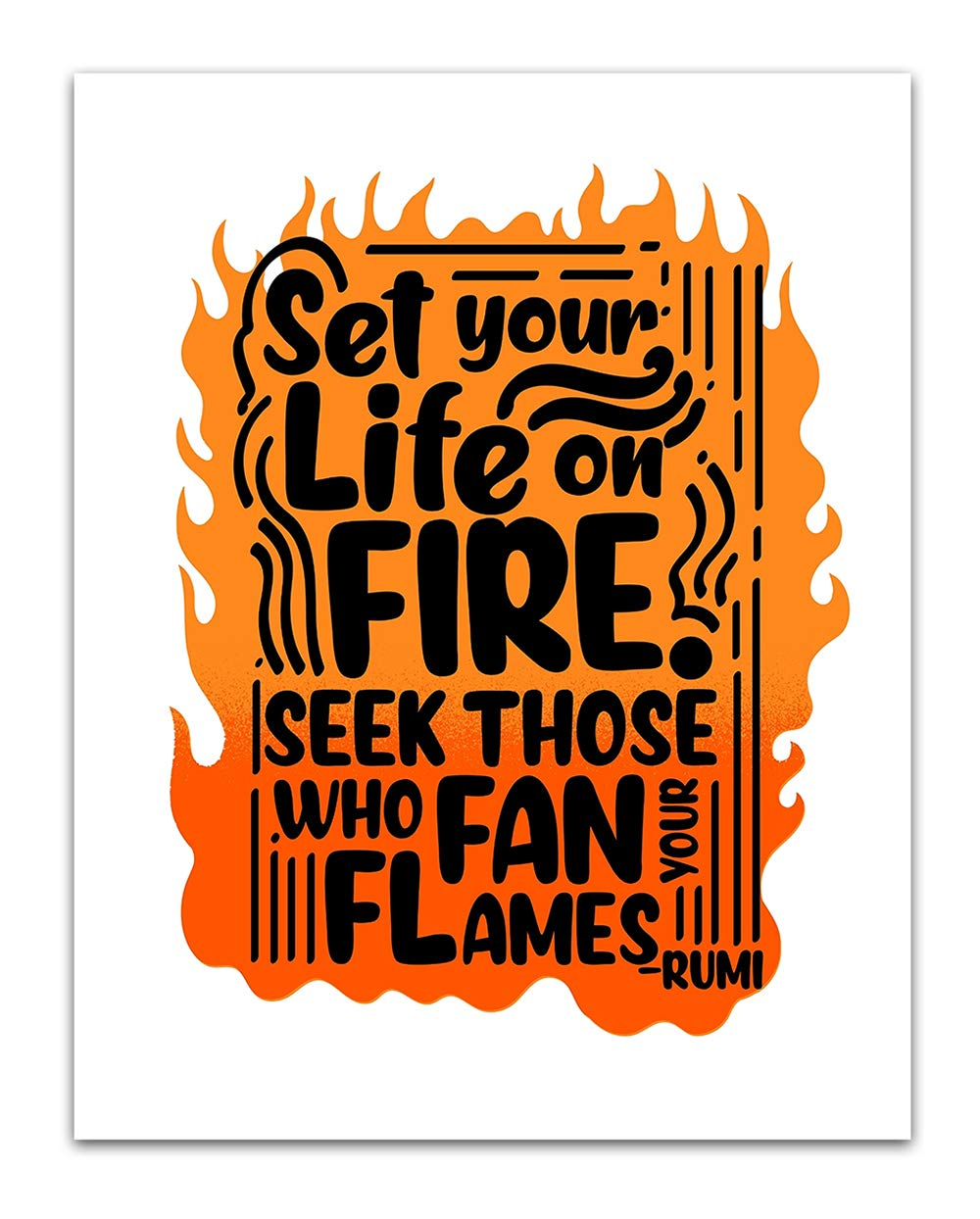 Weekly update Set Your Life on Fire Rumi Quote Easy-to-use Decor - Boho Wall and Spiritual