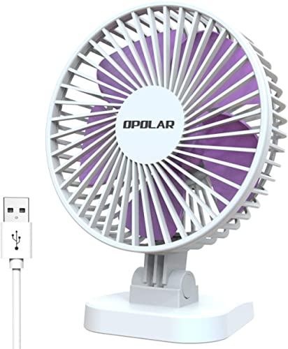 OPOLAR Small Desk Fan for Office Table, Cute but Mighty, 3 Speeds, USB Powered, 40° Adjustment, 2019 New Quiet Portab...