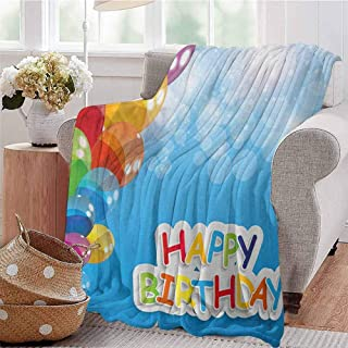 Luoiaax Birthday Rugged or Durable Camping Blanket Vibrant Balloons in The Sky Sun Beams Abstract Style Air Celebration Theme Print Warm and Washable W80 x L60 Inch Multicolor