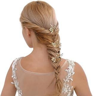azaleas Wedding Hairpiece Hairband Hair Pin Accessory Bridal Hair Vine Ribbon Headband (HP61-Golden)