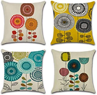 INSHERE Farmhouse Cartoon Flowers Pattern Cushion Covers Decorative Throw Pillows for Sofa 18x18 inches Pack of 4