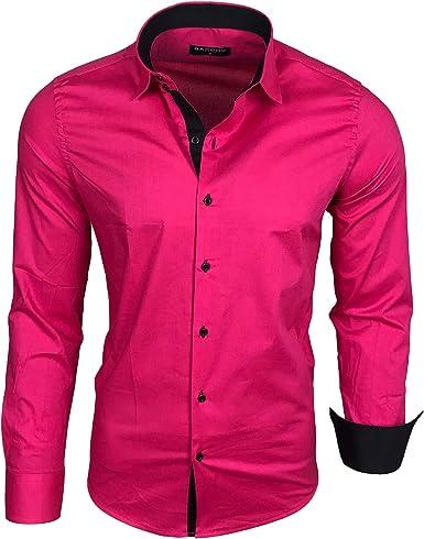 Camisa básica para hombre, para ocio, negocios, traje, manga larga (R-44) rosa