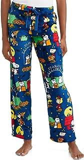 Halloween Snoopy Charlie Brown Women's Pajama Minky Fleece Sleep Pants, Blue