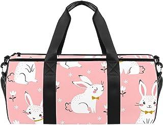 حقائب رياضية رياضية للكتف حقيبة سفر واق من المطر للرجال والنساء أرانب بيضاء لطيفة على الأزهار الوردية