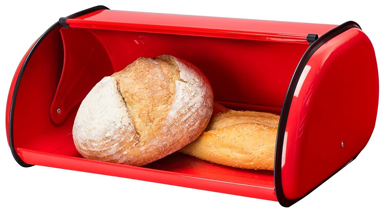 Greenco Stainless Steel Bread Bin Storage Box, Roll up Lid (Red)