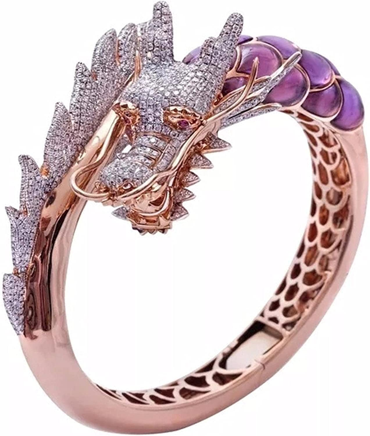 Cfbcc Unique Vintage Dragon Animal Statement Ring Purple Opal Crystal Engagement Wedding Band Rings Jewelry