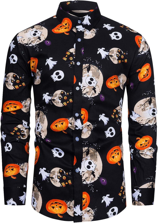 fohemr Mens Pumpkins Button Down Long Sleeve Shirt Halloween Shirt