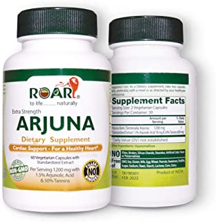 Roar ARJUNA - 1200mg Max Strength Health Supplement for Cholesterol, Blood Pressure & Healthy Heart Function Support - 60 ...