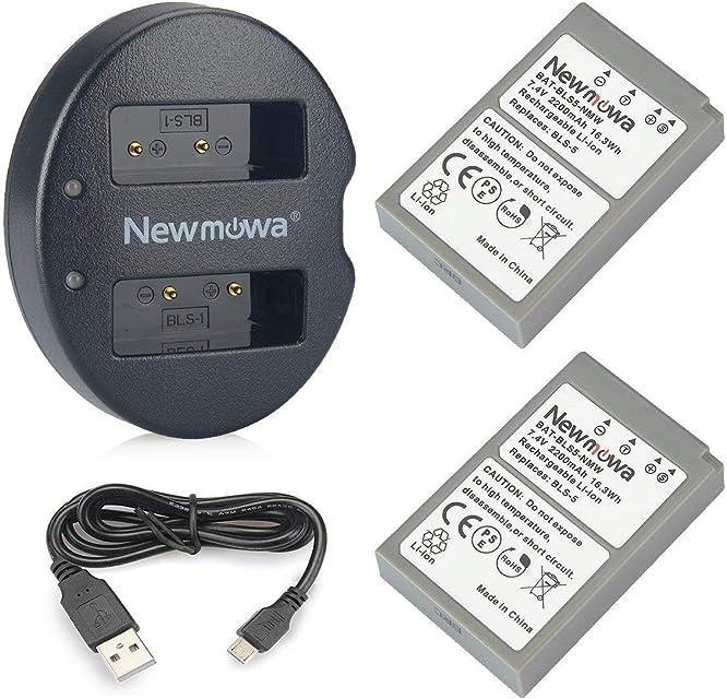 BLS-5 Newmowa Batería de Repuesto (2-Pack) y Kit de Cargador Doble para Micro USB portátil para Olympus BLS-5 BLS-50 PS-BLS5 Olympus OM-D E-M10 Pen E-PL2 E-PL5 E-PL6 E-PL7 E-PM2 Stylus 1
