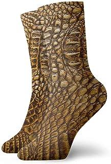 tyui7, Calcetines de compresión antideslizantes de textura de piel de hueso de cocodrilo dorado Calcetines deportivos de 30 cm acogedores para hombres, mujeres y niños