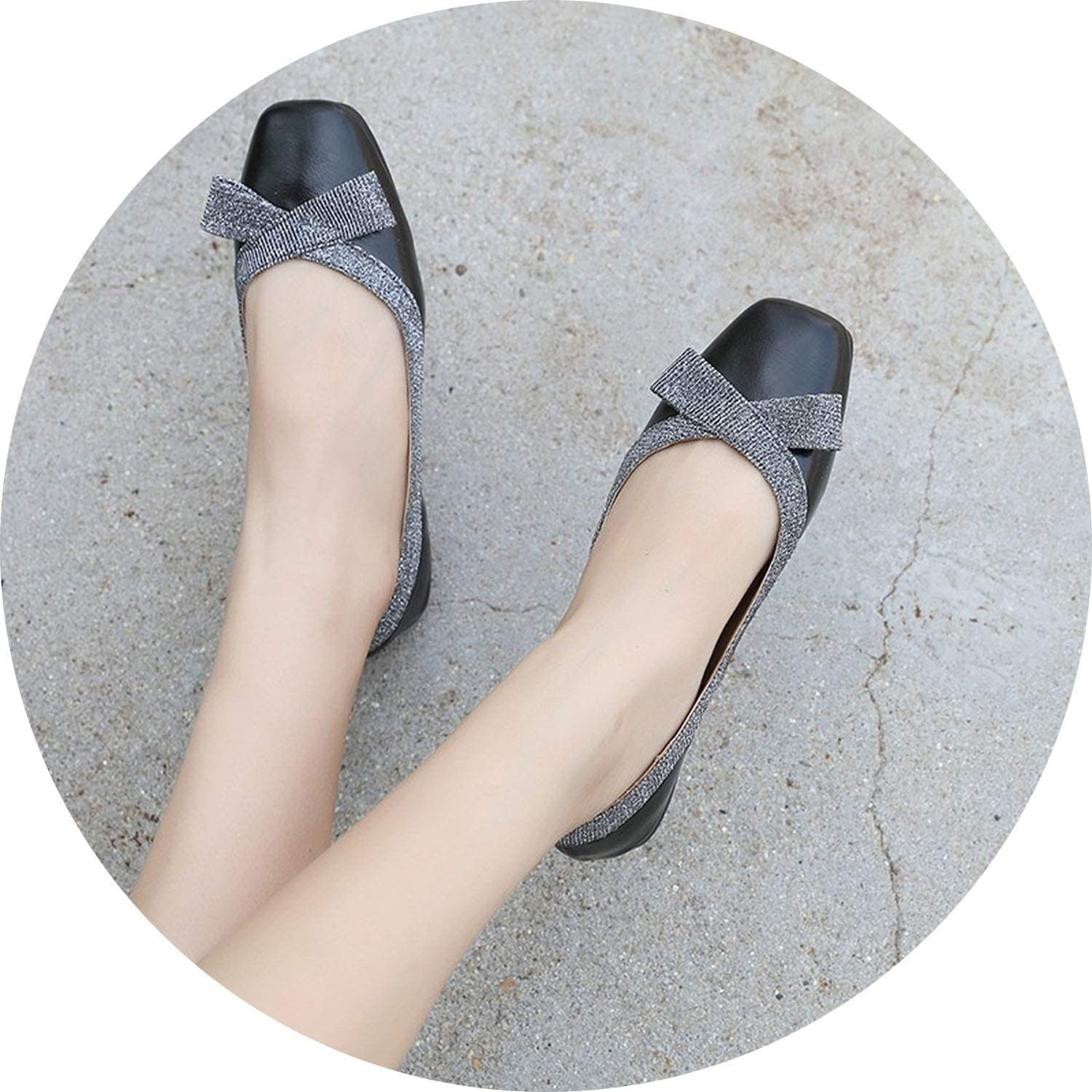 2019 Women Flat shoes Casual Loafers Woman Square Toe Bow-tie Bling Soft Oxford shoes