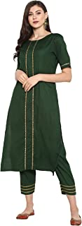 Janasya Women's Green Rayon Kurta With Pant