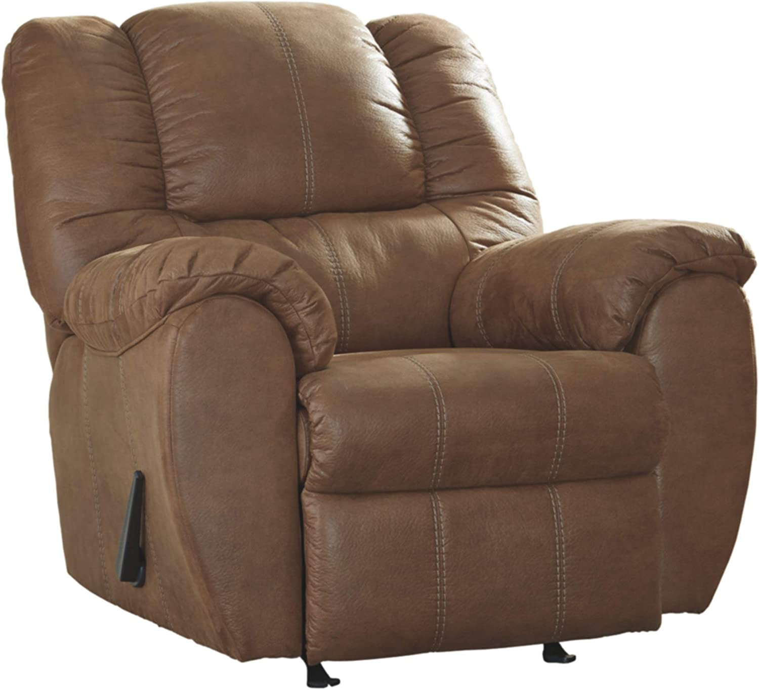Signature Design by Ashley - McGann Contemporary Faux Leather Rocker Recliner - One Pull Reclining, Light Brown