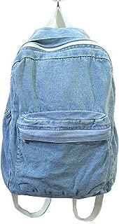 light blue denim backpack