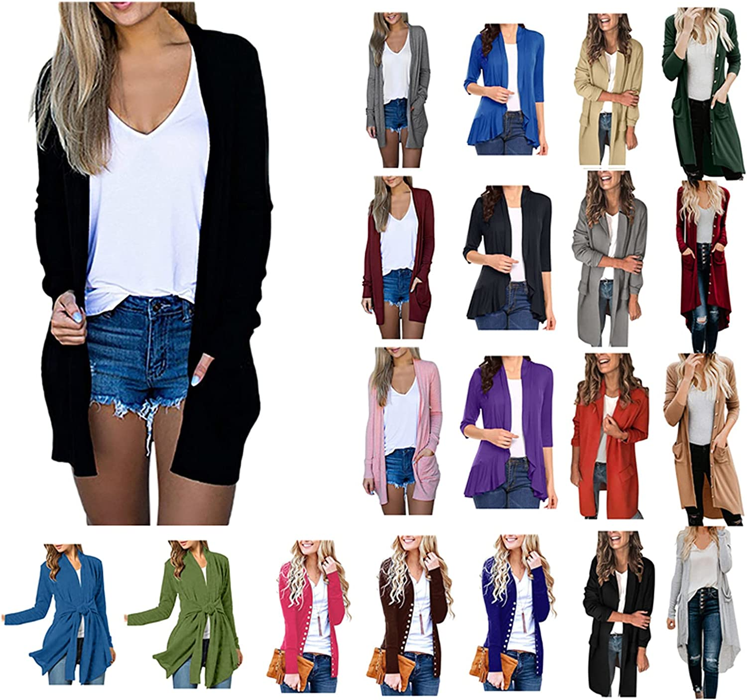 Fashion Cardigan for Women Solid Color Casual Decorative Pocket Long Sleeve Outwear Open Front Fly Away Sweater