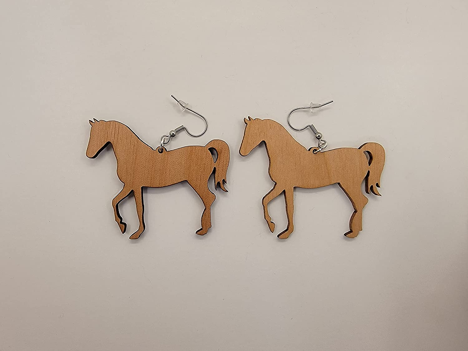 Horse Laser Beauty products Cut Alder Wood Complete Free Shipping Satin Earrings Hook Style Finish