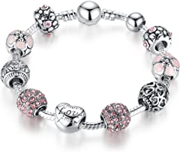 Qings Charm Bracelets with Swarovski Crystal Jewellery Gift for Women Girls 18cm