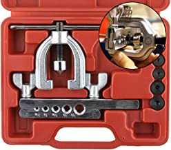 Double Flaring Tool Kit for Auto Brake Line - for Copper, Aluminum, Soft Steel Brake Line and Brass Tubing - Automotive Break Line Flare Repair Kit - 10 Piece Universal Tool Kit - Metric Sizing Set