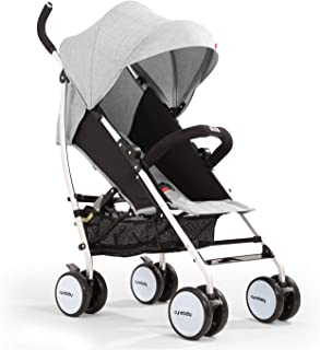 Umbrella Baby Stroller Lightweight Compact Stroller All Terrain Convenience Carriage Stroller Travel Tall Pram for Toddler Big Kids Single Stroller (Bright Grey)