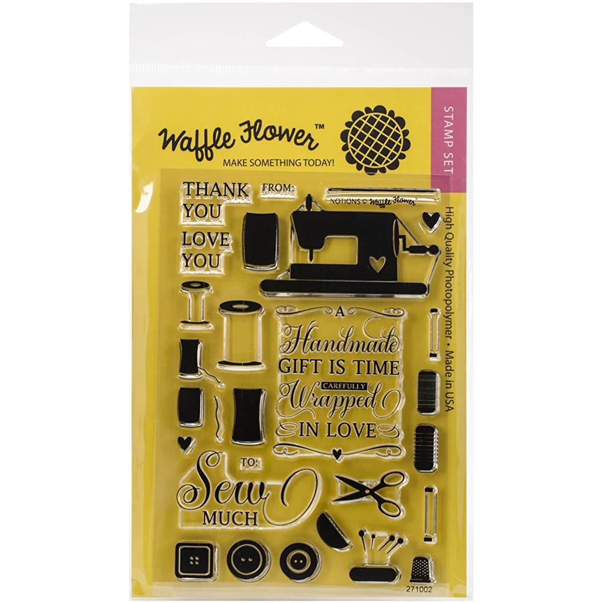 Waffle Flower Crafts Clear Notions Stamps, 4 x 6