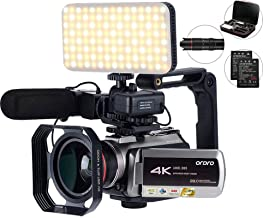 4K Camcorder with 64X Digital Zoom,Connecting with Telescope/LED Light/Microphone &Other Accessories (Camera Bag&64 GB SD ...