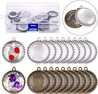 Glarks 40Pcs 25mm Antique Bronze Silver Color Round Tree Bezel Pendant Trays with Bright Glass Cabochon Dome Tiles for Bracelet Necklace Crafting DIY Jewelry Gift Making