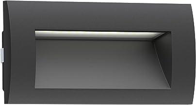 ledscom.de LED inbouw wandlamp Zibal voor buiten, zwart, warm-wit, 140x70mm