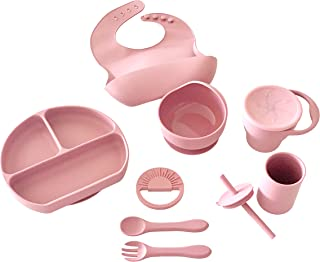 LilArtie Baby Silicone Feeding Set (Dusty Pink)