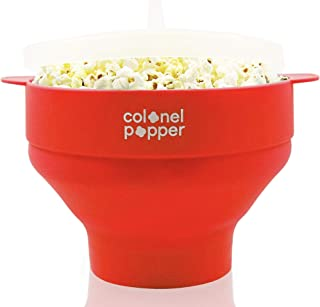 Colonel Popper Microwave Popcorn Popper Maker - Silicone Hot Air Popcorn Bowl (Red)