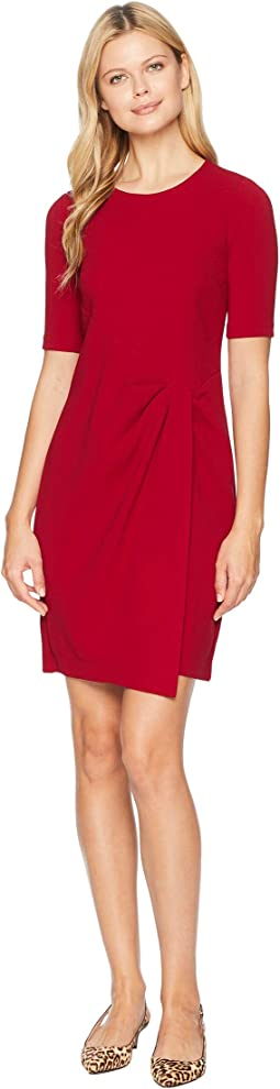 Metro Knit Jewel Neck Wrap Front Sheath Dress