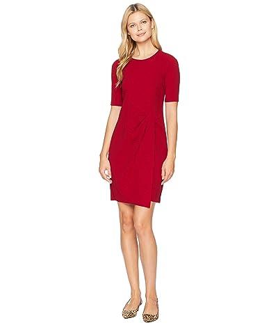 Maggy London Metro Knit Jewel Neck Wrap Front Sheath Dress (Red) Women