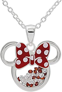 Disney Minnie Mouse Silver Plated Floating Crystals Pendant w/Chain Jewelry