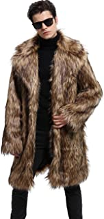 Men's Luxury Faux Fur Coat Jacket Winter Warm Long Coats Overwear Outwear