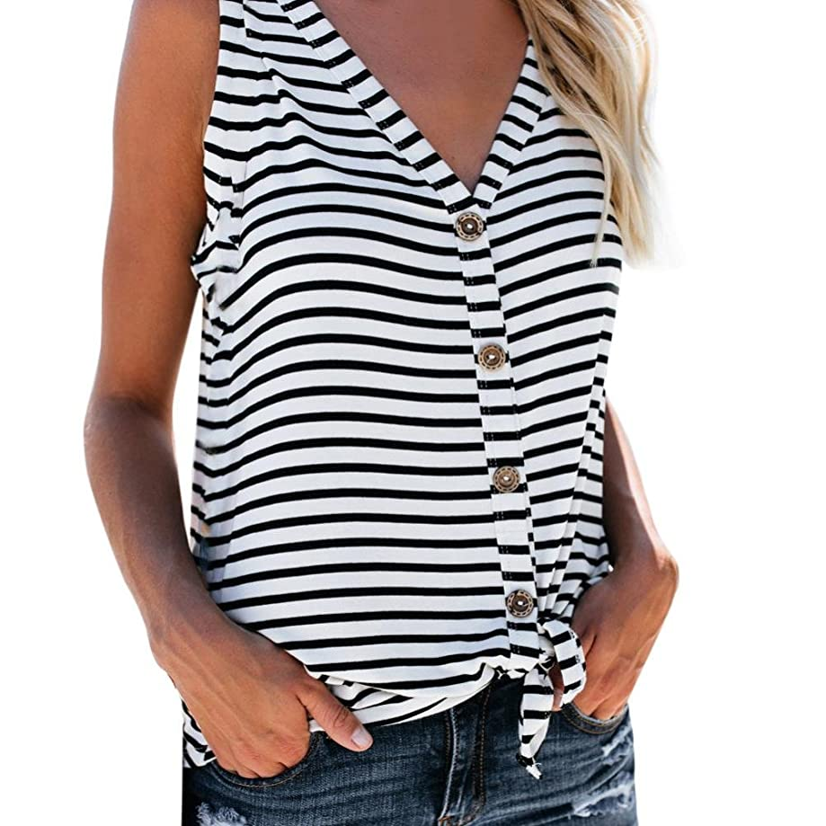 lotus.flower 2018 Womens Fashion V-Neck Button Cotton Stripe Sexy Vest Fashion Sleeveless T-Shirt (XL, White)