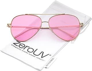 Retro Metal Frame Double Nose Bridge Color Flat Lens Aviator Sunglasses 60mm