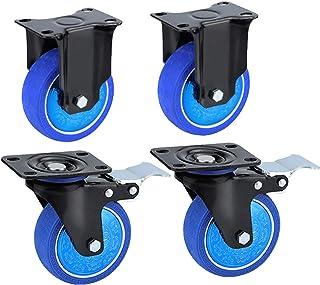 YJJT Rubber Mute Wheel, Meubilair Universeel wiel, Kan 360 graden draaien, met remmen, 4 wielen belasting 350 kg, duwen en...