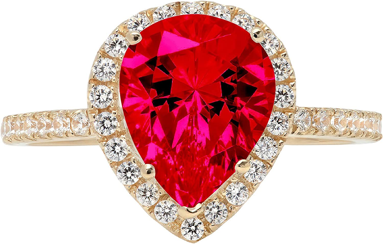 2.45ct Brilliant Pear Cut Solitaire with Accent Halo Flawless Classic Pink Tourmaline Ideal Engagement Promise Anniversary Bridal Wedding Designer Ring 18k Yellow Gold