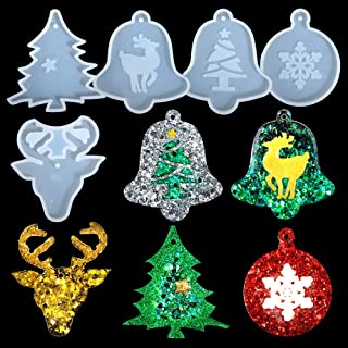 5 Styles Christmas Ornaments Resin Molds, LEOBRO Durable Silicone Molds for Resin Epoxy, Cute Jewelry Casting Molds for Christmas Decorations and Ornaments, Room Decors, Earrings, Necklace Making