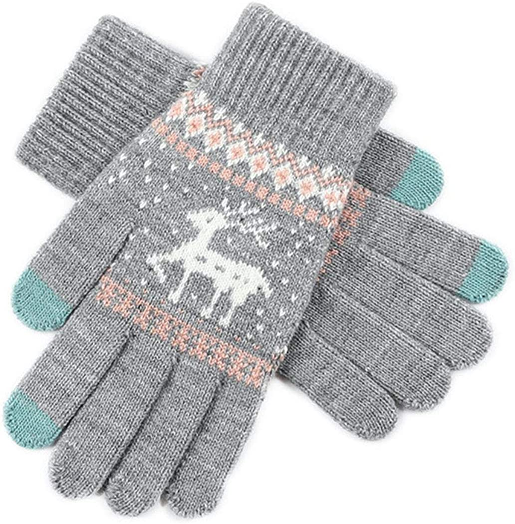 Campsis Winter Touch Screen Gloves Grey Warm Cozy Deer Printed Knit Soft Texting Gloves for Women and Girls