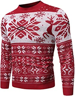 Pullover Sweaters Men's Christmas Reindeer Snowman Penguin Santa and Snowflakes Sweater Crew Neck Shirt