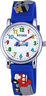 Zeiger Cool Fashion Student Children Kids Boys Watches Age 5-10 Time Teacher, 3D Truck Silicone Band -Blue