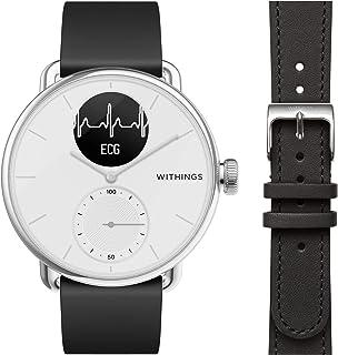 Withings ScanWatch - Reloj Inteligente híbrido con ECG, tensiómetro y oxímetro, 38 mm, Color Blanco + Correa para Reloj WR...