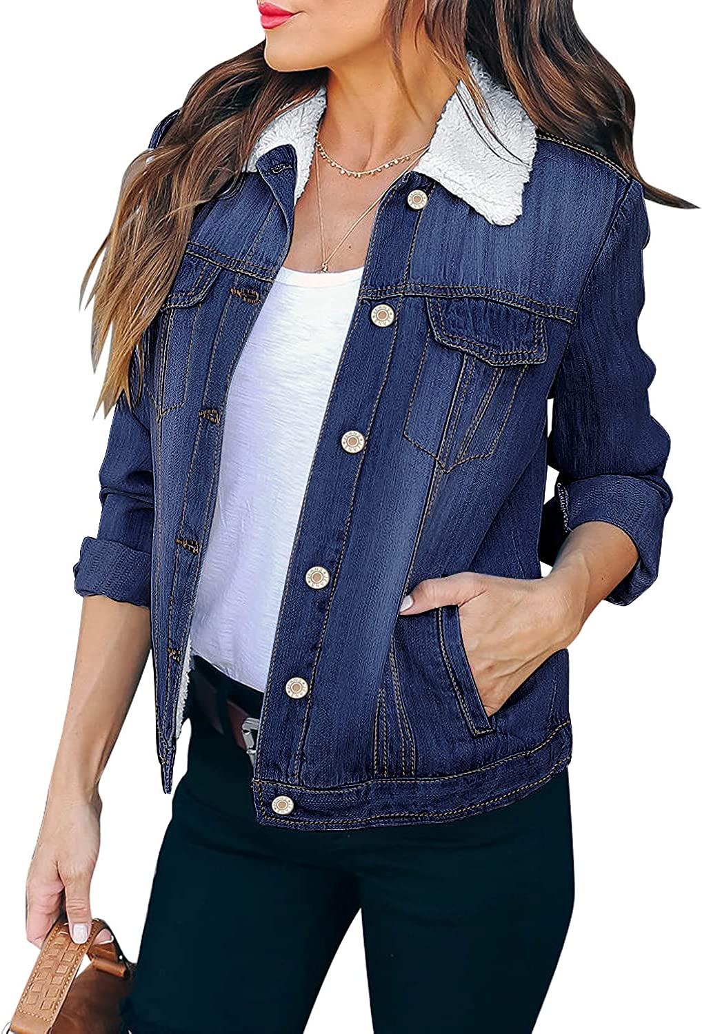 LookbookStore Women's Casual Button Down Ripped Fleece Basic Denim Jacket Coat with Pockets