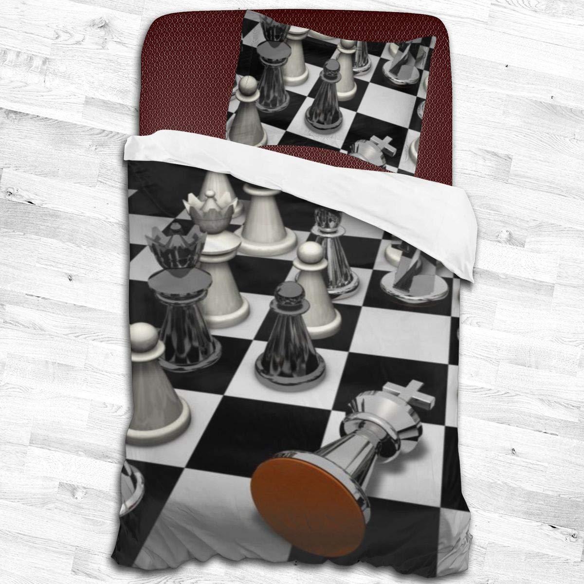 Yaitty Juego de Cama Reversible con diseño de Tablero de ajedrez en 3D, tamaño Individual, 2 Piezas, con Fundas de Almohada para Adolescentes y niños, poliéster, Negro, 55