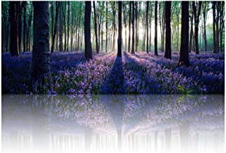 Visual Art Decor Framed Large Purple Canvas Wall Art Mild Sunshine Lavender Flowers Forest Landscape Tree Wall Art Picture Prints Ready to Hang for Home Office Living Room Bedroom Decoration