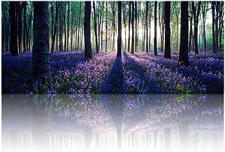 Sponsored Ad - Visual Art Decor Framed Large Purple Canvas Wall Art Mild Sunshine Lavender Flowers Forest Landscape Tree W...