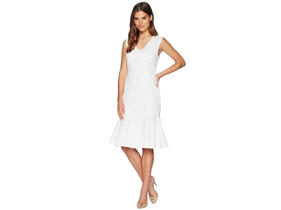 CATHERINE Catherine Malandrino Suz V-Neck Sleeveless Peplum Hem Eyelet Dress (Bright White) Women